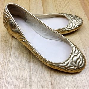 Coach Shoes - Coach Laticia Metallic Gold Quilted Leather Flats